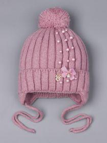 РБ 25575 Шапка вязаная для девочки с бубоном на завязках, лапша, бантик, брошь, бусинки, лавандово-розовый