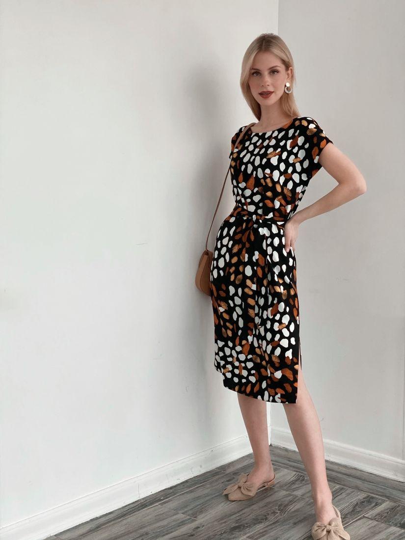 3931 Платье с декольте по спинке чёрное