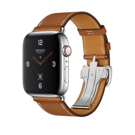 Apple Watch Hermes Stainless Steel Series 4 44mm GPS + Cellular Fauve Barenia Leather Single Tour Deployment Buckle