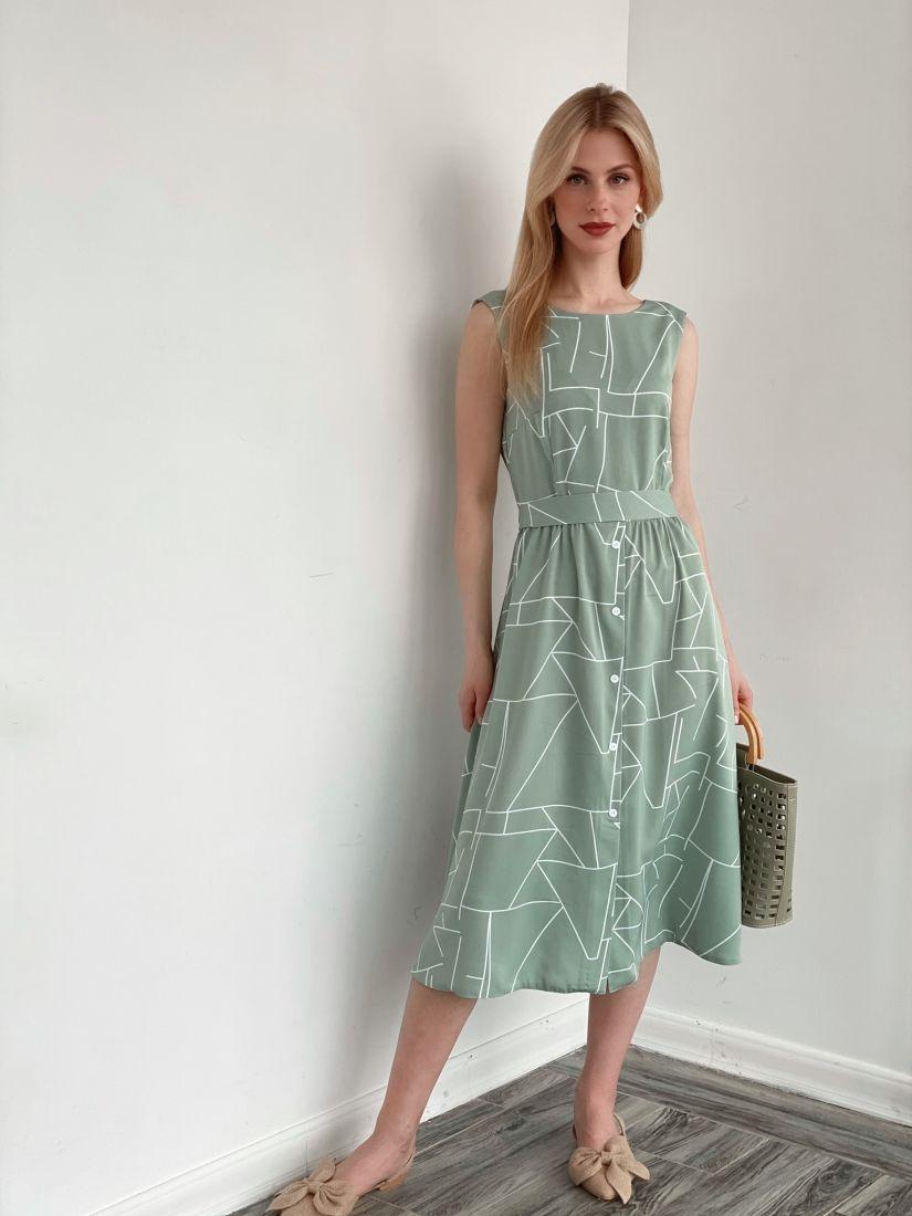 s3938 Платье с декольте по спинке фисташковое