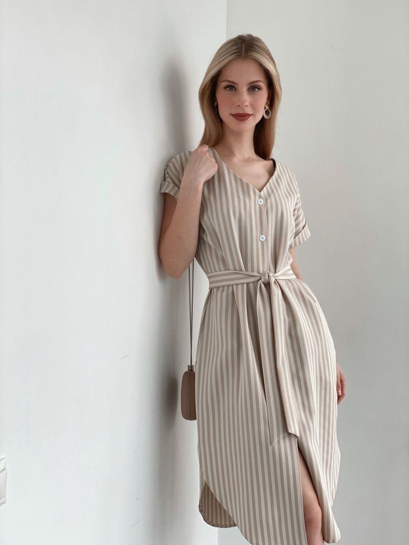 3939 Платье-рубашка в бежевую полоску-ёлочку