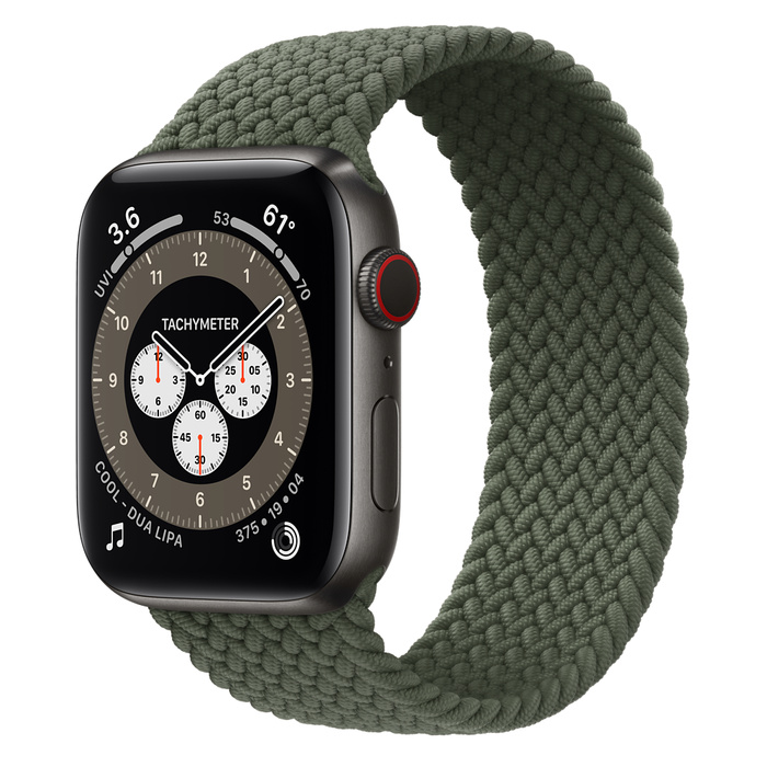 Часы Apple Watch Edition Series 6 GPS + Cellular 44mm Space Black Titanium Case with Inverness Green Braided Solo Loop