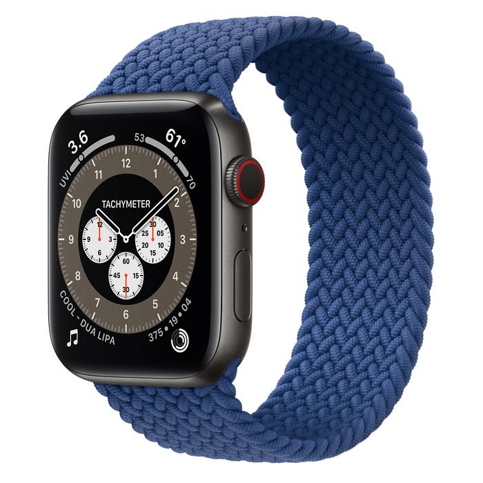 Часы Apple Watch Edition Series 6 GPS + Cellular 44mm Space Black Titanium Case with Atlantic Blue Braided Solo Loop
