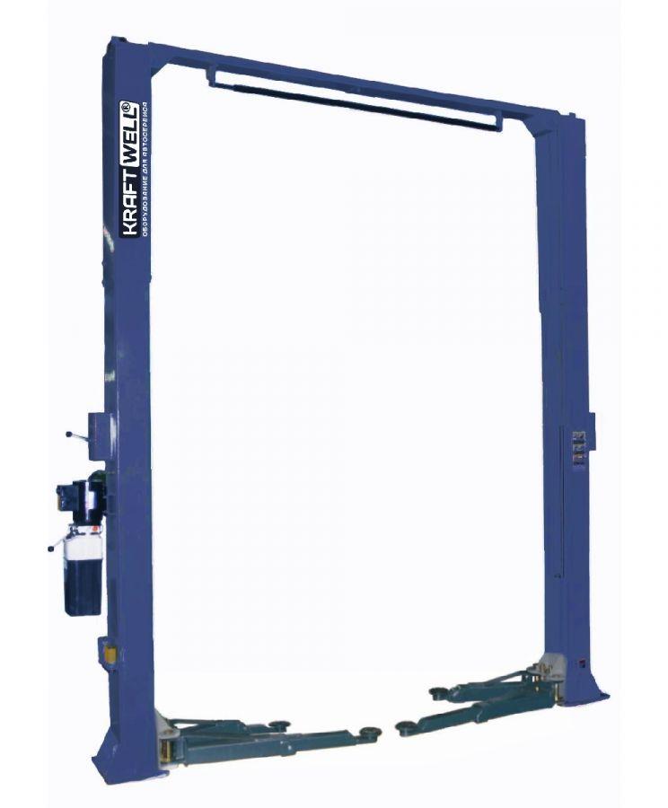 KraftWell KRW5.5MU_blue Подъемник двухстоечный г/п 5500 кг. электрогидравлический с дополнительным комплектом лап и KRW5.5H