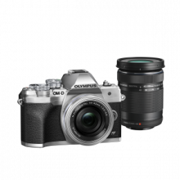 Фотоаппарат Olympus OM-D E-M10 Mark IV Pancake Double Zoom Kit с объективами 14-42 EZ и 40-150mm серебристый