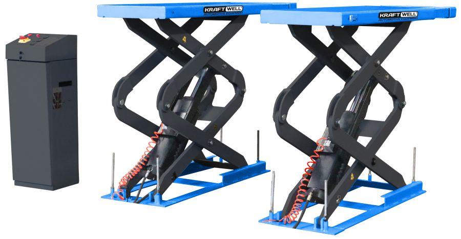 KraftWell KRW360SU_blue Подъёмник ножничный короткий заглубляемый г/п 3600 кг.