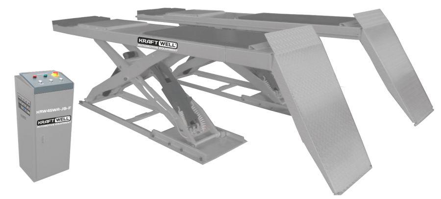 KraftWell KRW40WA-JB-F Подъемник ножничный г/п 4000 кг. напольный, платформы для сход-развала