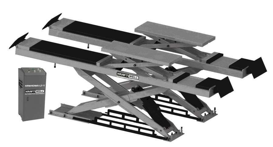 KraftWell KRW40WA-LT-T Подъемник ножничный г/п 4000 кг. заглубляемый, платформы для сход-развала с подъемником второго уровня