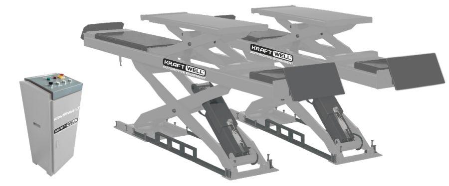 KraftWell KRW55WA-LT Подъемник ножничный г/п 5500 кг. заглубляемый, платформы для сход-развала с подъемником второго уровня