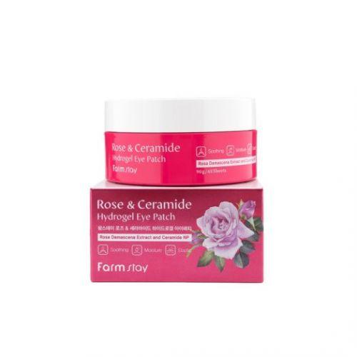 034840 FarmStay Увлажняющие гидрогелевые патчи для области вокруг глаз с экстрактом дамасской розы и керамидами Rose & Ceramide Hydrogel Eye Patch