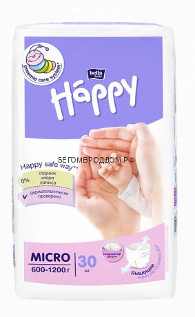 Подгузники для маловесных малышей Bella Happy MICRO (600-1200 гр) 30 шт