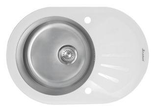 Мойка врезная Seaman Eco Glass SMG-730W, Два Отверстия (Ø35мм),  С Вентиль-Автоматом белая/сталь