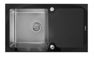 Мойка врезная Seaman Eco Glass SMG-860B, Два Отверстия (Ø35мм),чернаясталь