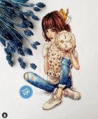 """Digital cross stitch pattern """"Feathered hugs""""."""