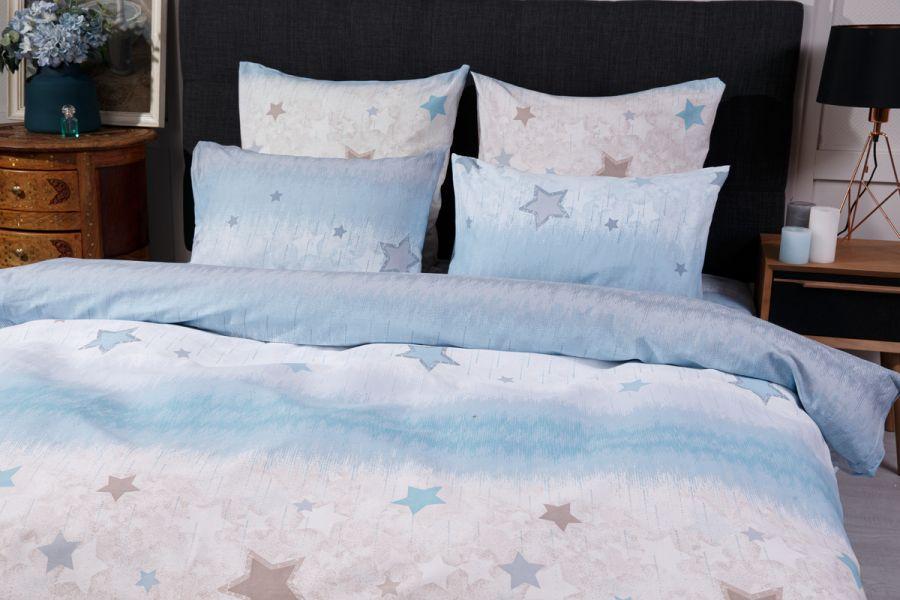 Бязь 1.5 спальный [голубой] Звездочки постельное белье