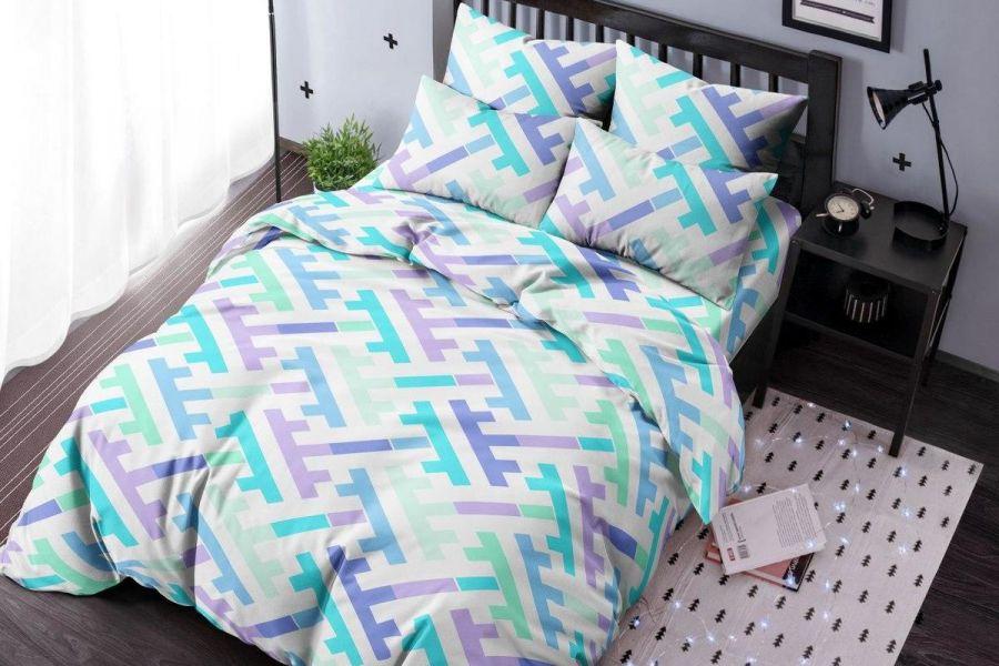 Бязь 1.5 спальный [голубой] Лабиринт постельное белье