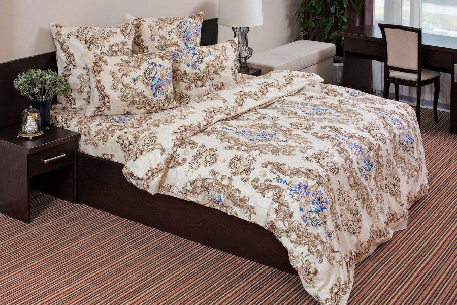Бязь 2-х спальный [коричневый] Нежная Роза постельное белье