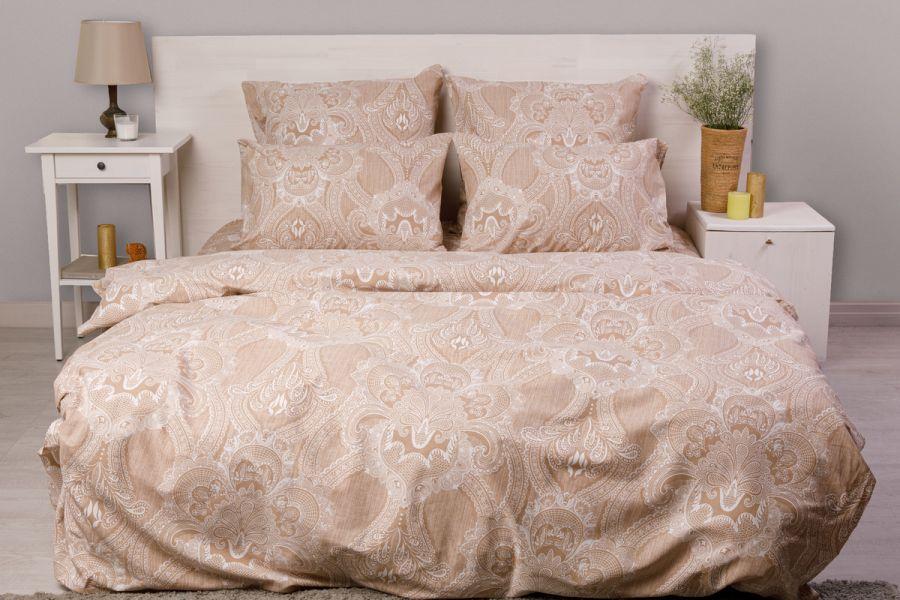 Бязь 2-х спальный с евро [в ассортименте] Брюссельское кружево постельное белье