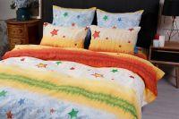 Бязь 2-х спальный с евро [желтый] Звездочки постельное белье