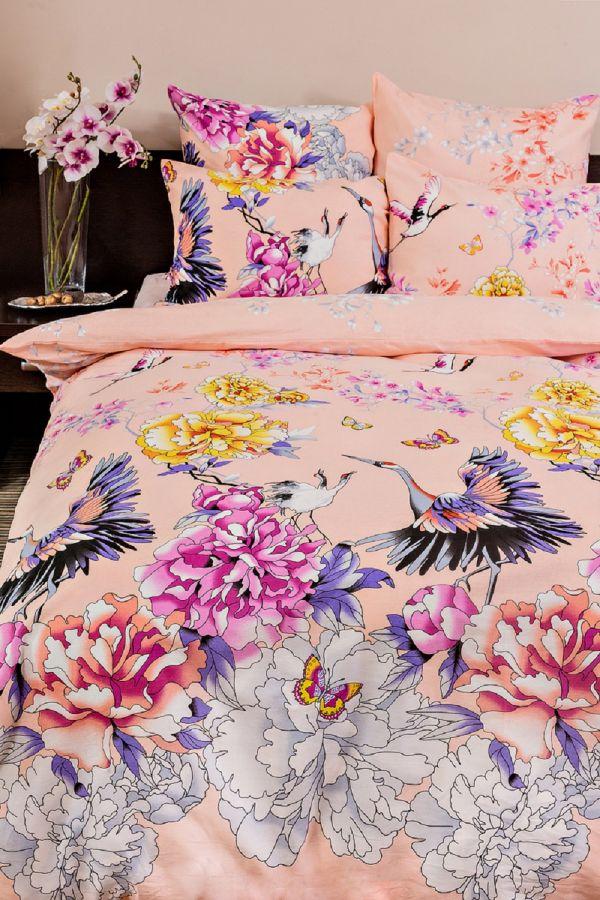 Бязь семейный [розовый] Журавли постельное белье