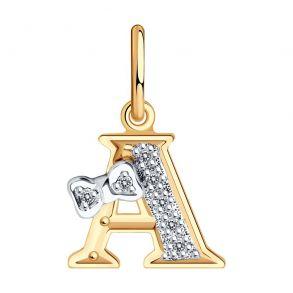 Золотая подвеска-буква «А» 030650 SOKOLOV