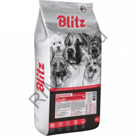 Blitz Sensitive с говядиной и рисом сухой корм для взрослых собак всех пород