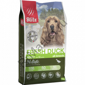 Blitz Holistic СВЕЖАЯ УТКА - низкозерновой сухой корм для взрослых собак всех пород