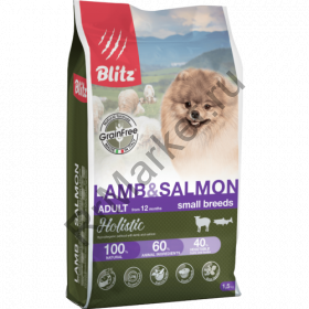 Blitz Holistic ЯГНЕНОК И ЛОСОСЬ - беззерновой сухой корм для взрослых собак мелких пород