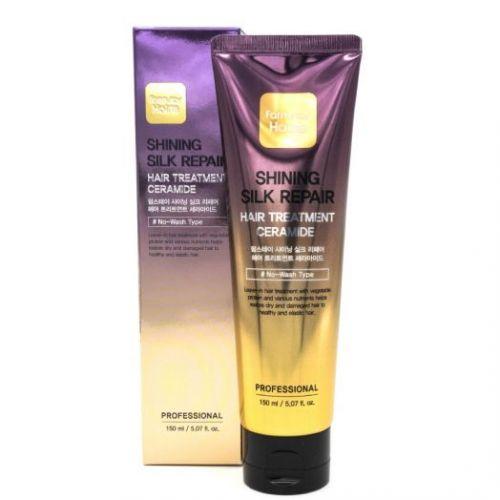 230347 FarmStay Укрепляющая маска для сияния и блеска волос с керамидами Shining Silk Repair Hair Treatment Ceramide