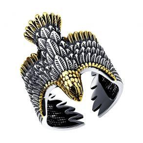 Кольцо из чернёного серебра с золочением Птица Орёл 95010173