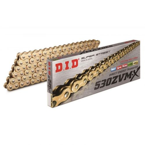 Цепь DID 530ZVM-X G&G X-ring усиленная золотая