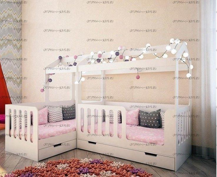 Кровать-домик Сказка ДС-1/1 + ДС-15 для двоих детей