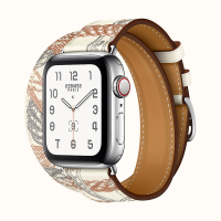 Часы Apple Watch Hermès Series 6 GPS + Cellular 40mm Silver Stainless Steel Case with Double Tour Band in White Swift Calfskin and All-over Della Cavalleria Print