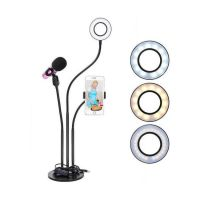 Штатив-держатель смартфона и микрофона с кольцевой LED лампой-4