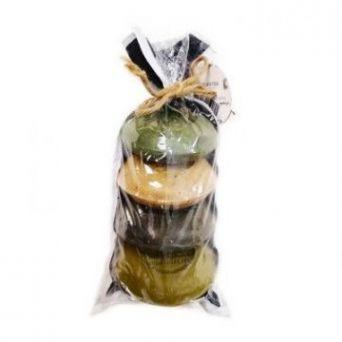 Набор оливкого мыла в мешке, с маслом лавра и сосны, с ромашкой, с маслом черного тмина, с медом, 4 шт./ ~400 гр