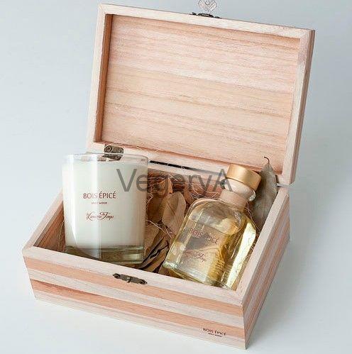 Подарочный набор деревянный сундучок (ПРЯНОЕ ДЕРЕВО) LUMIERES