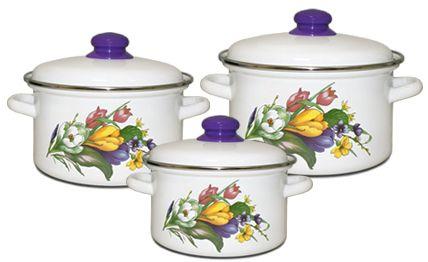 Набор посуды Магнитогорская эмаль, Крокусы