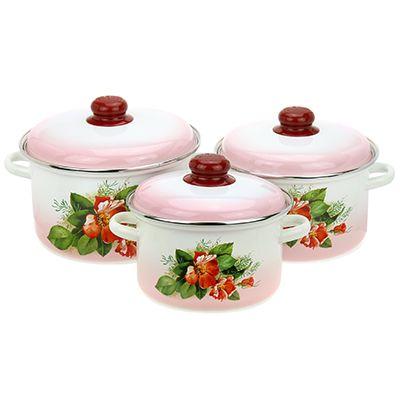 Набор посуды Магнитогорская эмаль, Цветущий шиповник