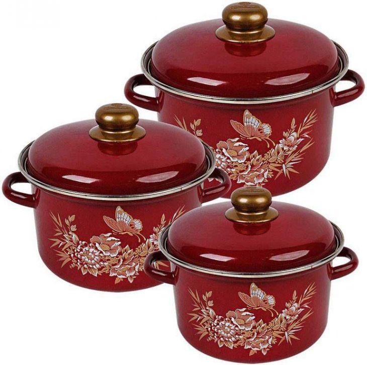 Набор посуды Магнитогорская эмаль, Золотой махаон