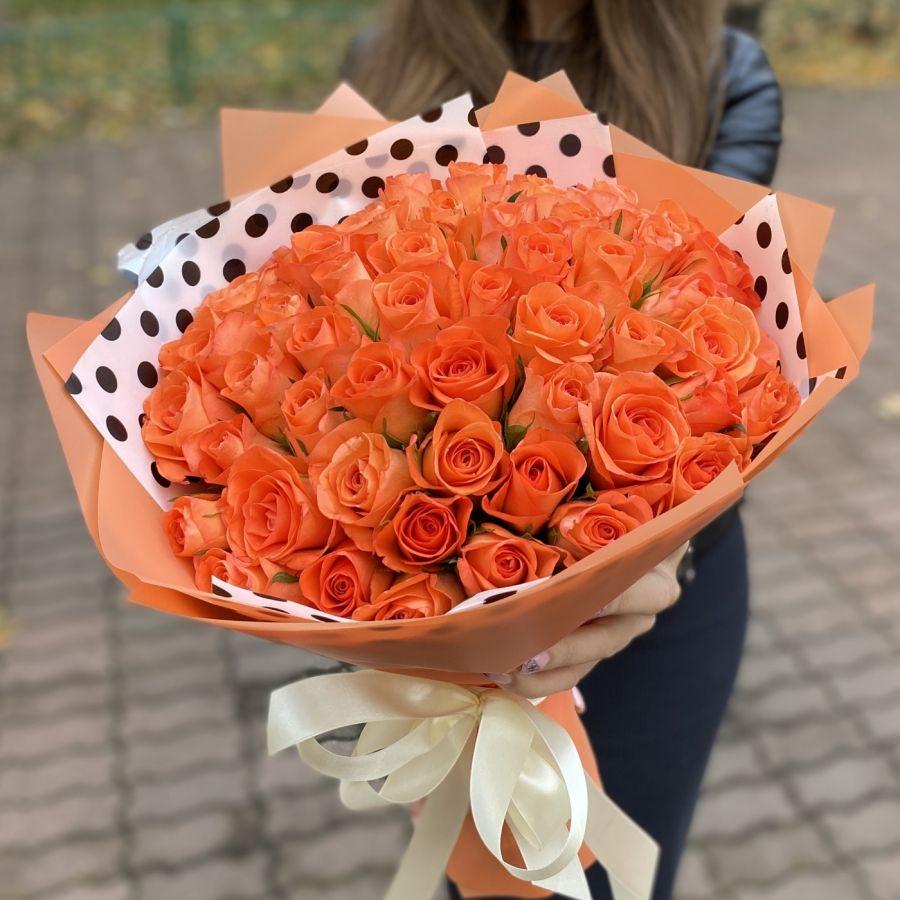 51 оранжевая роза 50см