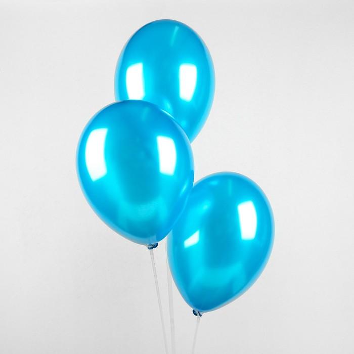 "Шар латексный 12"", металл,  цвет синий"