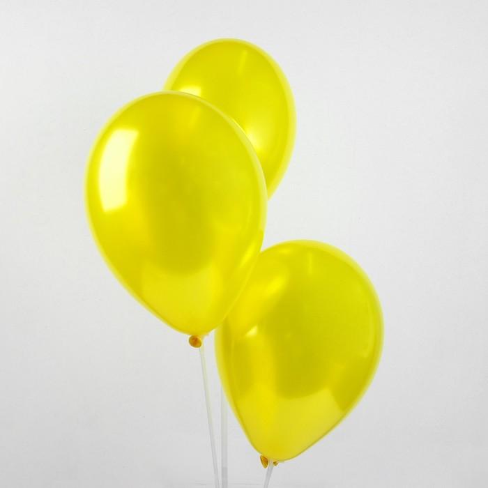"""Шар латексный 12"""", металл,  цвет жёлтый"""