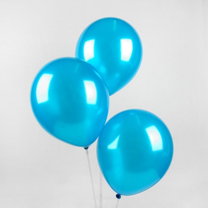 "Шар латексный 12"", металл,  цвет голубой"