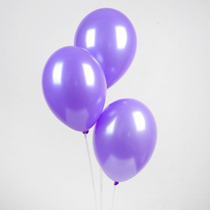 """Шар латексный 12"""", металл,  цвет фиолетовый"""
