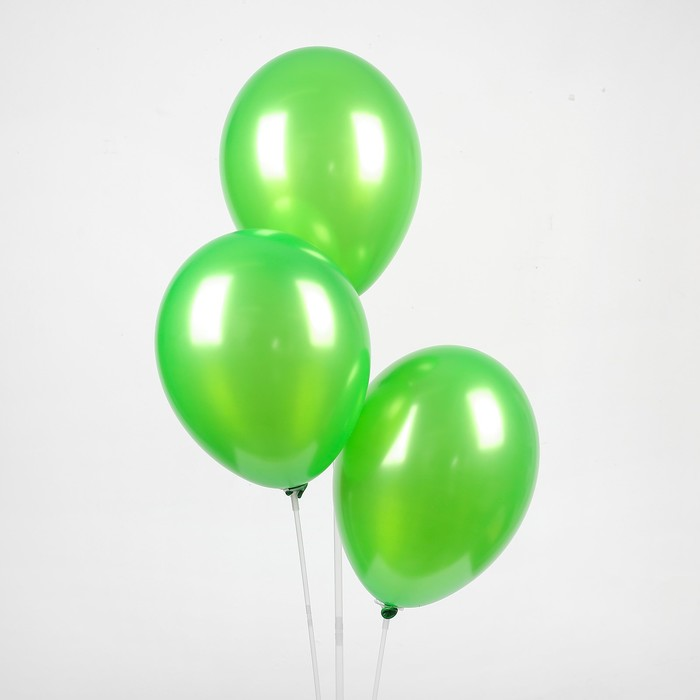 "Шар латексный 12"", металл,  цвет зелёный"