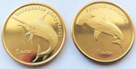 Морские обитатели (Акула-молот и Рыба Парусник )1 доллар Муреа 2020