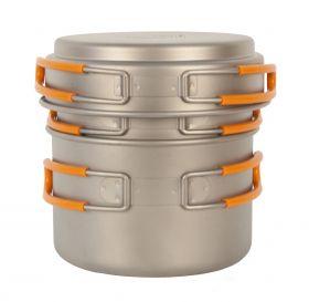 Набор кастрюли с крышкой NZ 1200+800 мл Ti Pot Set TS-014