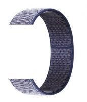 Тканевый ремешок (Липучка) для Xiaomi Amazfit Bip 20мм ( Темно-синий с белой строчкой )