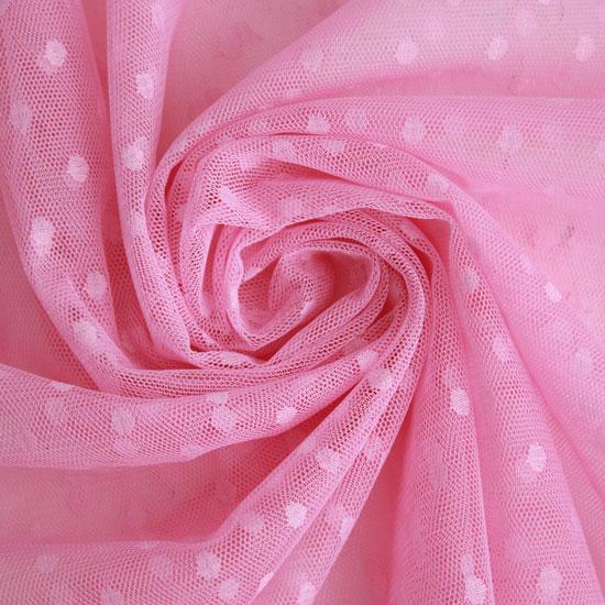 Мягкий фатин - Горошек светло-розовый 150*25 см.