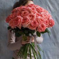 Букет из пионовидных розовых роз под ленту  от 11 шт